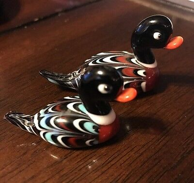 Vintage Murano Miniature Duck Mallard Glass Figurine (2)