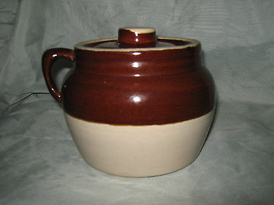 Vintage Brown & White Glazed Crock with Lid and Handle