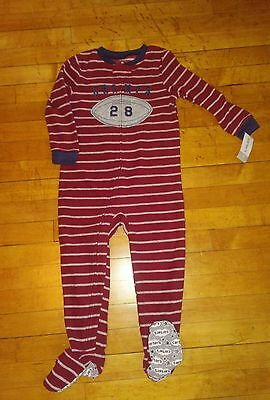 Carters Champs Football Footed Fleece Pajamas Toddler Boys 4T NWT