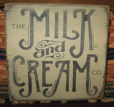 Primitive Country The Milk And Cream Co. Small Sq.  Sign