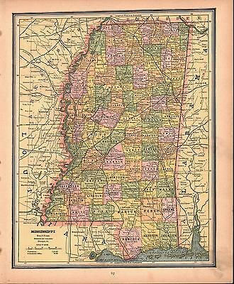 Mississippi Louisiana Antique Colored Map 1887