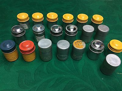 LOT of 21 Vintage Film Cans Tins Canisters Containers WITH 35mm NEGATIVES Kodak