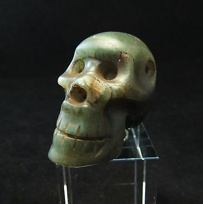 Ancient Pre-Columbian Mayan Translucent Jade Skull Pendant ~Private collection!