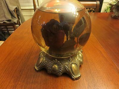 Vintage Bowl o Beauty Roses Glass Globe Crystal Ball w/ Original Contents Base