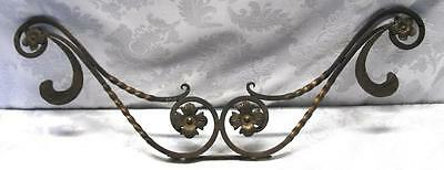 Antique Wrought Iron Twisted Floral Wall Decor, Bronze Wash