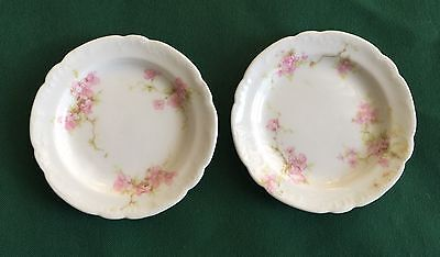 2 Antique Theodore Haviland Limoges France Porcelain Butter Pats Pink Flowers