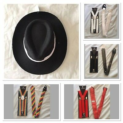 1920's Mafia Fancy Dress Costume Set Gangster Hat Suspenders Tie