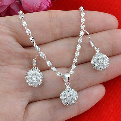Women Fashion Silver Plated Rhinestone Ball Necklace +Earrings Jewelry Set Sweet