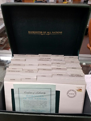Banknotes of All Nations Franklin Mint Currency Set 89 Pieces  INCOMPLETE COA