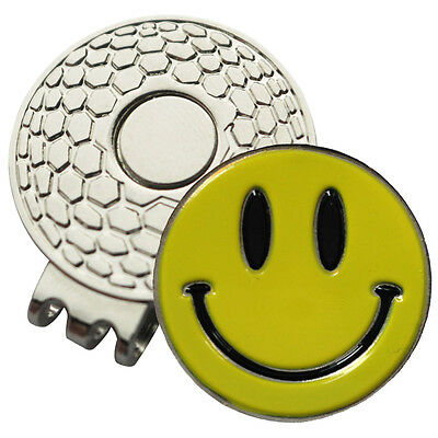 1 x New Magnetic Hat Clip +Yellow Smiley Golf Ball Marker -For Golf Hat or Visor