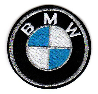 "BMW LOGO BADGE EMBROIDERED IRON ON PATCH 2.5"" m3 m5 330 z4 z8 z3 racing sport"
