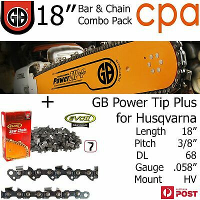 "18"" GB Chainsaw Bar & Chain Combo Power Tip+  3/8"" DL68 .058"" for Husqvarna"