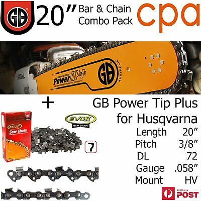 "20"" GB Chainsaw Bar & Chain Combo Power Tip+  3/8"" DL72 .058"" for Husqvarna"
