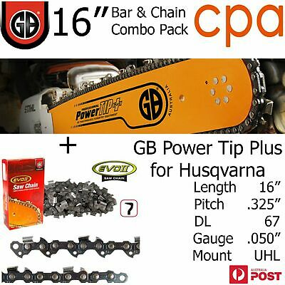 "16"" GB Chainsaw Bar & Chain Combo Power Tip+  .325"" DL67 .058"" for Husqvarna"