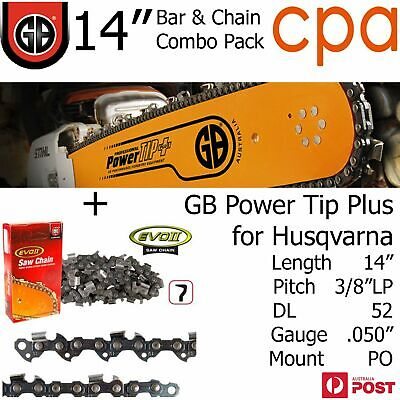 """14"""" GB Chainsaw Bar & Chain Combo Power Tip+  3/8""""LP DL52 .050"""" for Husqvarna"""