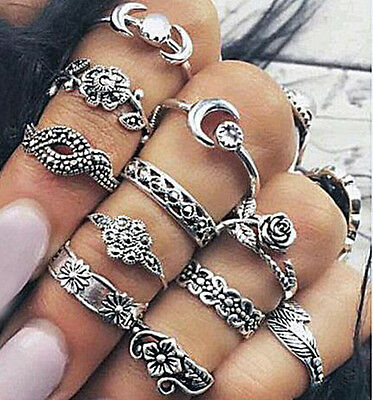 Retro 11Pcs/set Vintage Gold Silver Gold Carved Crystal Moon Midi Knuckle Ring