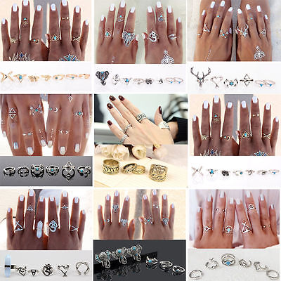 Trendy 11Pcs/Set Silver Gold Boho Fashion Arrow Moon Midi Finger Knuckle Rings