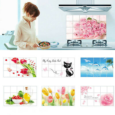 1PC Kitchen Wall Paper Oil Proof Sticker Foil Decal Home Decor Random Color NEW