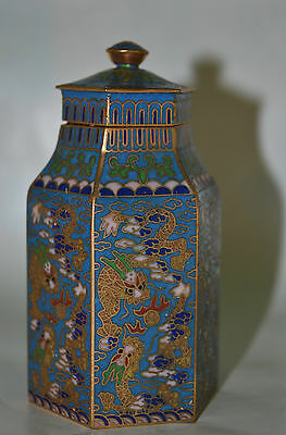 Lovely Vintage Very Fine Chinese Hexagonal Shape Cloisonne Vase Lidded Pot Urn