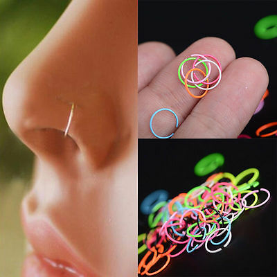 40x Fake Clip On Silver Plated Thin Small Nose Ring Hoop- No Piercing Needed!