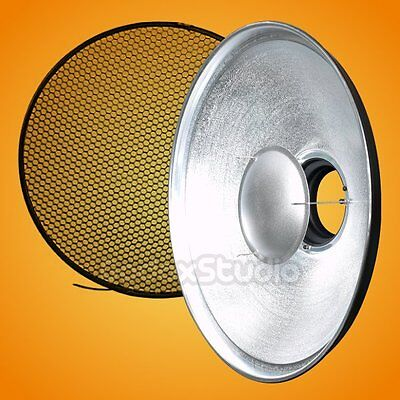 UK RS-550 55cm Silver SOLID Honeycomb Grid Beauty Dish Bowens Mount + Diffuser