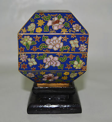 Unusual Very Fine  Vintage Chinese Cloisonne Box On Stand Flower Design.