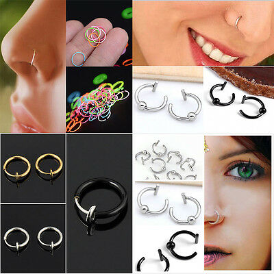 Hot Stainless Steel Nose Open Hoop Ring Earring Body Piercing Studs Jewelry Gift