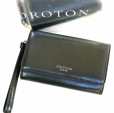 New OROTON Wallet Estate With Pouch Clutch Purse Wristlet Black Leather RRP$245