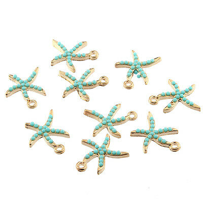 10pcs Small Starfish Inlaid Beads Connector Charms DIY Jewelry Making 19*16mm
