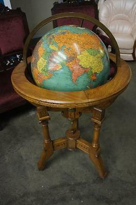 Vintage Globe With Wooden Stand Lot 6066