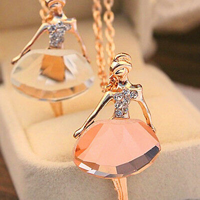 Womens Alloy Ballet Gold Plated Long Chain Fashion New Pendant Crystal Necklace