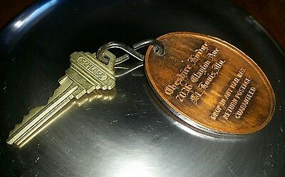 VINTAGE CHESHIRE LODGE ST. Louis, Mo. KEY AND KEY FOB HEAVY METAL #420