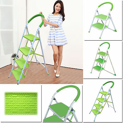 Lime Green 2,3,4 Tread Metal Non-Slip Heavy Duty Steel Diy Folding Step Ladders