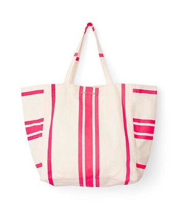Victoria Secret Beach Canvas Tote Bag Pink & Ivory