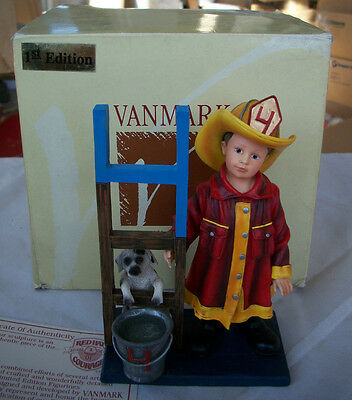 VanMark Red Hats of Courage Firefighter 4th Birthday  Figurine NEW IN BOX 88642