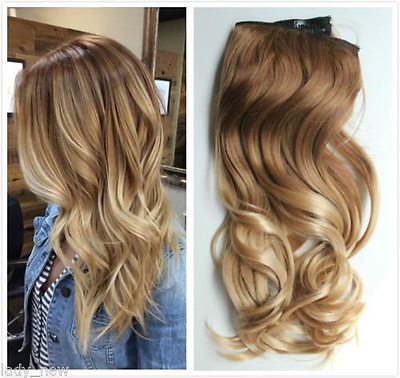 """17"""" one piece full head clip in hair extensions ombre wavy curly (Light brown to"""