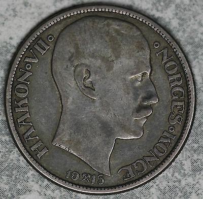 Very nice 1915 Norway 1 Krone Silver Coin!!