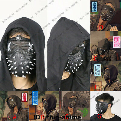 7 expression Watch Dogs 2 Dedsec Aiden Wrench Mask Cosplay Face Helmet Eyepatch