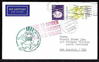 AIR MAIL Cover GERMANY to OLYMPICs VILLAGE USA LOS ANGELES Return to Sender 1984