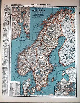1943 vintage ORIGINAL map of CENTRAL EUROPE and NORWAY SWEDEN WW2 ERA WWII Atlas