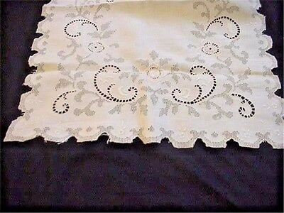 Fabulous Antique Embroidered Lace Linen Runner Cut Work Drawn Thread LARGE SIZE