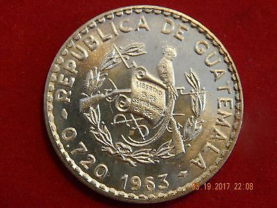 1963 Guatemala 50 Centavos Silver (.2778 asw) 350,000 minted 30.95 MM
