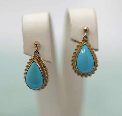 Victorian 14K Gold Pouches Earrings With Natural Turquoise. Signed 585