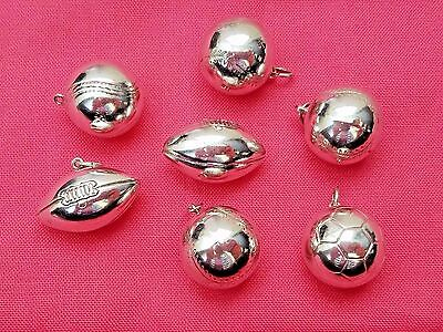 Lot of Vintage Sterling Silver Sports Balls Necklace Pendants, Estate Jewelry