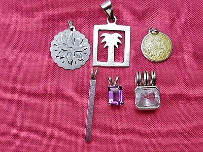 Lot of Vintage Sterling Silver Pendants, Palm Tree, Stone, Bar, Estate Jewelry