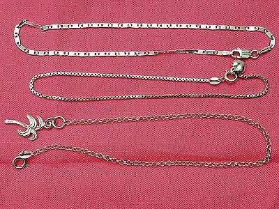 Lot of Vintage Sterling Silver Anklets, Curb, Charms, Box Chain, Estate Jewelry