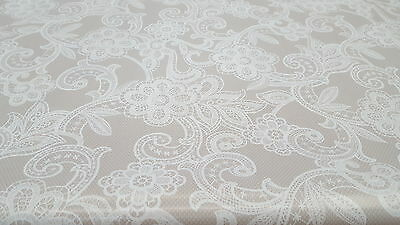 Victorian White Lace Beige Wipe Clean Vinyl Table Cloth £4.25 Metre Free Postage