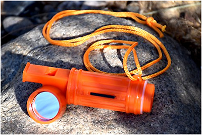 5-IN-1 Survival Whistle in Orange camping, hiking, hunting, fishing, and outdoor