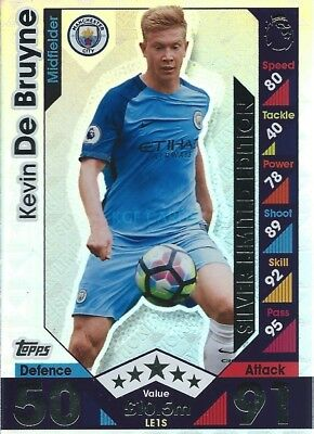 Match Attax Extra 2016/17 Kevin De Bruyne Silver Limited Edition Man City 2017