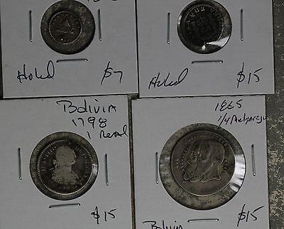 Four Early Bolivia Silver Coin - 1767, 1798, 1852, 1865